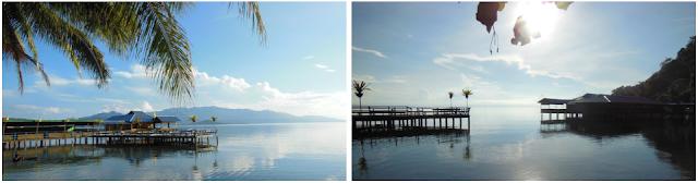 Dermaga Biru didominasi dengan cat berwarna biru Dermaga Biru (Pantai Derbi) - Wisata Pulau Bacan (Halmahera Selatan)