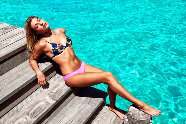 Hailey Baldwin strips to bikinis for Triangl Swimwear 2016 Lookbook