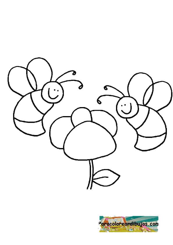 abejas y flores para colorear