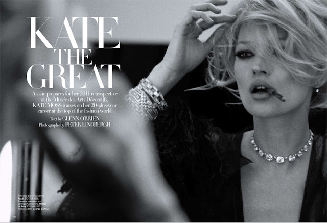 Kate Moss by Peter Lindbergh for Harper's Bazaar US, March 2010