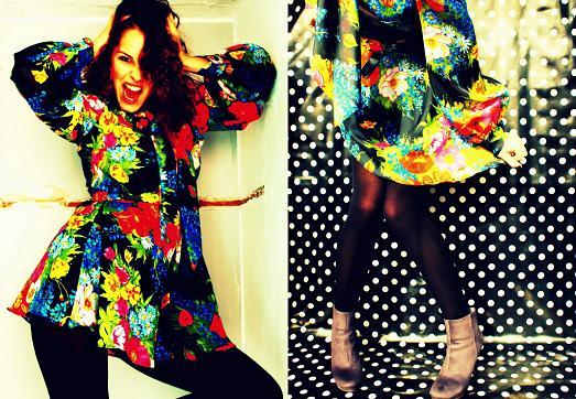 vestido floreado vestido vintage