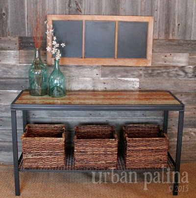 ... And Created A Sofa/entry/hallway Table. Using Reclaimed Lumber, Some  Reclaimed Metal Screen From An Abandon Quarry And My Husbands Mad Welding  Skills, ...