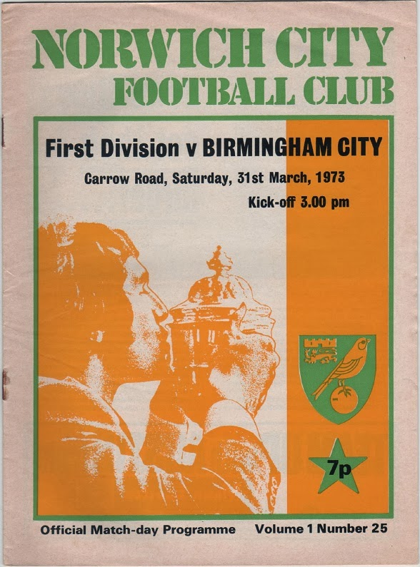 Football Programme for Norwich City v Birmingham City, March 1973