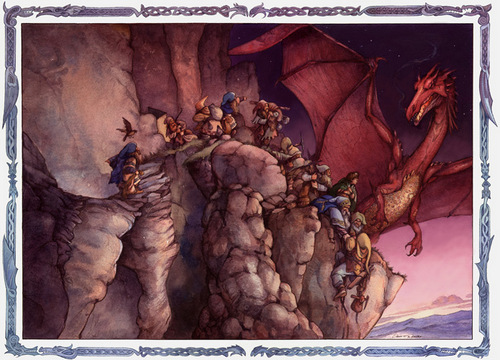 07-Smaug's Fury-Artist-David-Twenzel-Watercolour-The-Hobbit-Frodo-Baggins-Gandalf