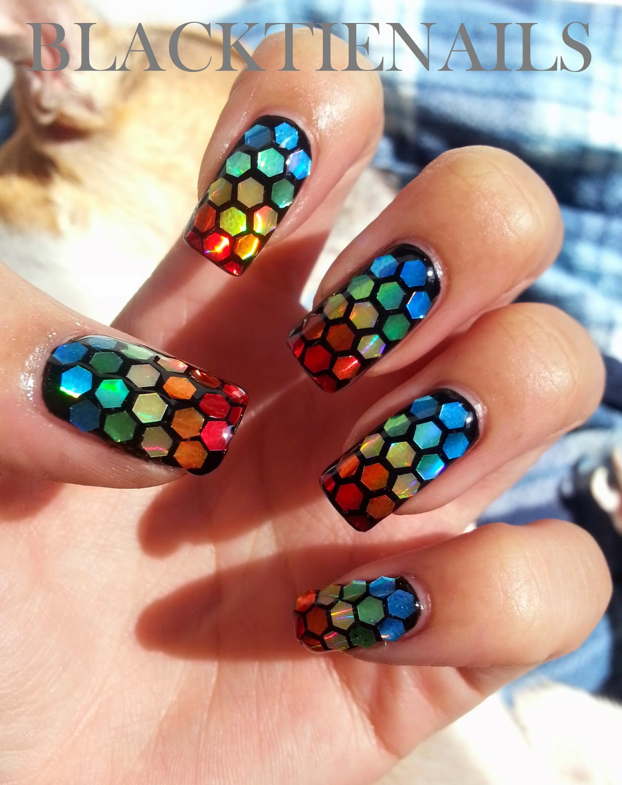 Black Tie Nails: Rainbow Glitter Placement Nail Art