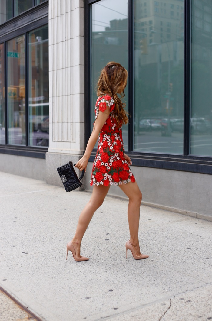 Topshop floral a line lace dress, Chanel boy bag, christian louboubin so kate pumps, kendra scott mystic bazaar collection, kendra scott, kendra scott ear jackets, kendra scott rings, fashion blog, nyc street style