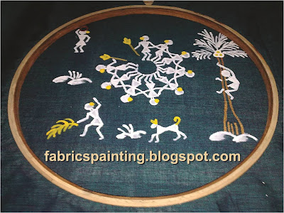 Warli design with circular dance formation