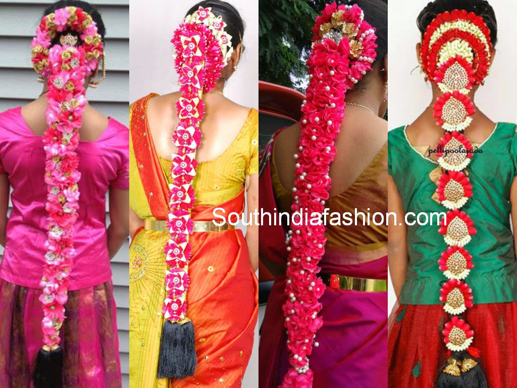 South Indian Bridal Hair Styles with Flowers