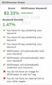 SEO score by SEOPressor Wordpress Plugin