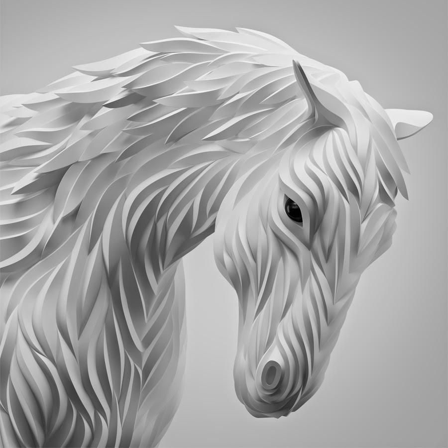 04-White-Horse-Maxim-Shkret-Digital-Origami-Animal-Art-www-designstack-co