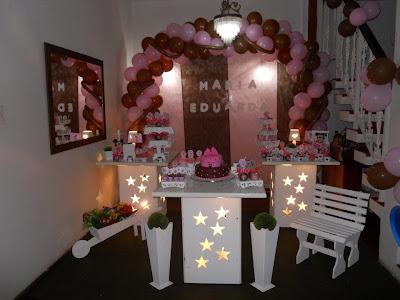Decoração provençal Marrom e Rosa - aniversário infantil