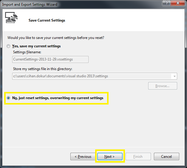 Tools > Import and Export Settings Wizard Step 2