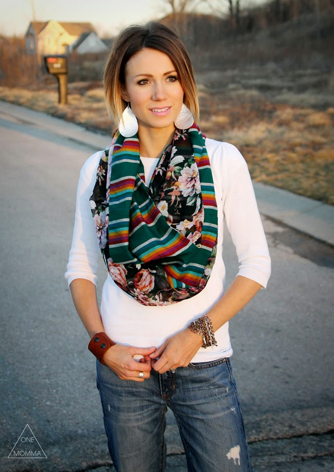 Leather earrings and mixed print scarf