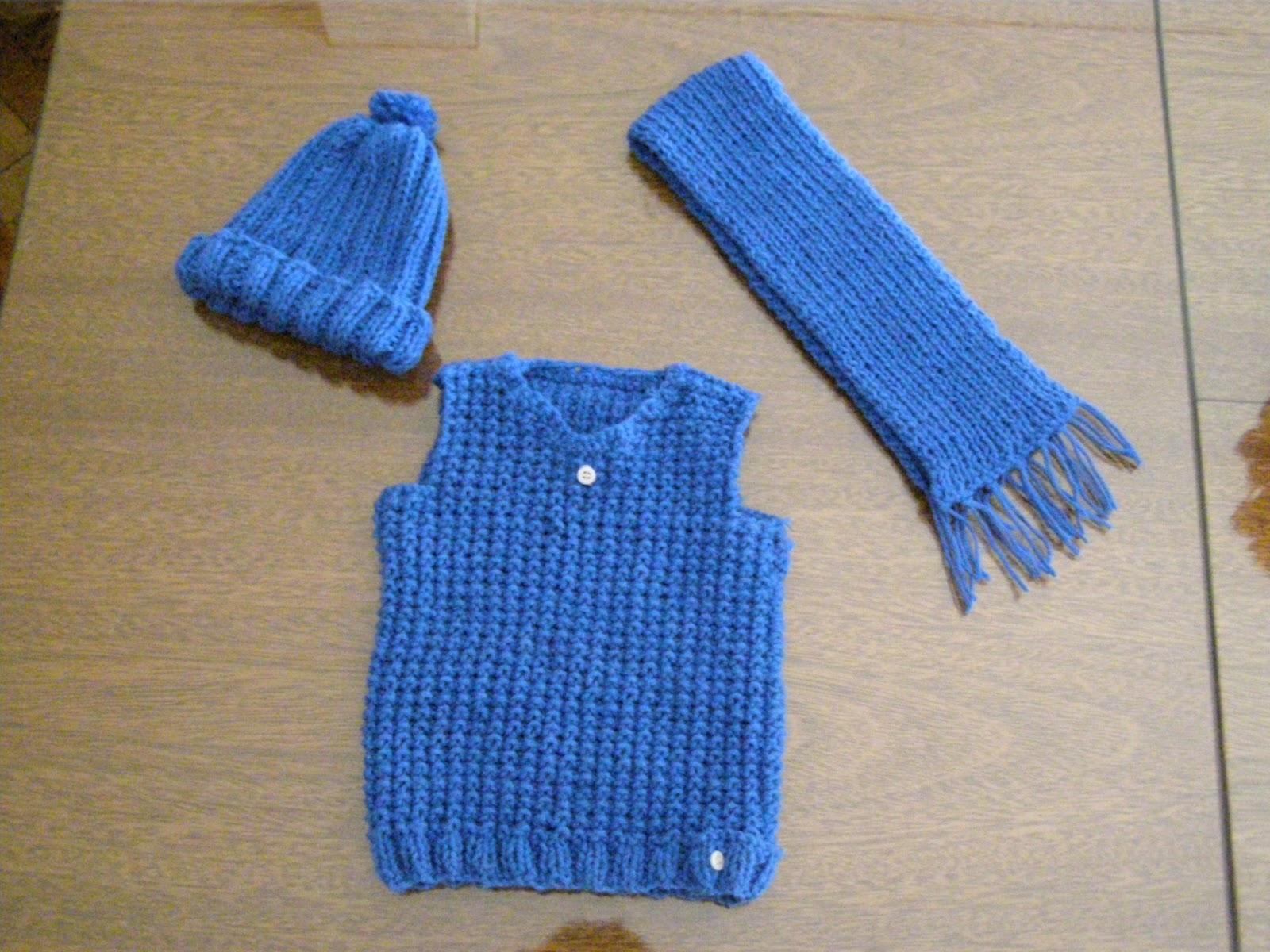 EL ATELIER DEL TEJIDO: Gorro – bufanda y chaleco para bebé – 1 año