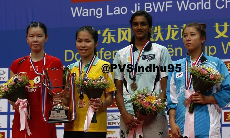 P.V Sindhu won Bronze Medal at World Badminton Championship. In photo with all the medal winners