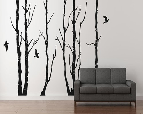 Favorite things home decor diy painted birch tree wall for Diy birch tree wall mural