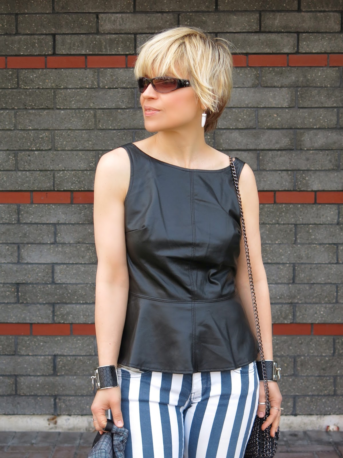 faux-leather peplum top and accessories