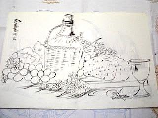 Risco para pintura em tecido, garrafão de vinho, uva, pão e taça