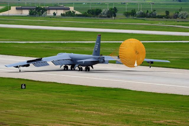 B-52 Stratofortress landing with break shute.