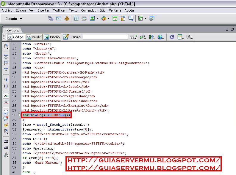 Selección del código for