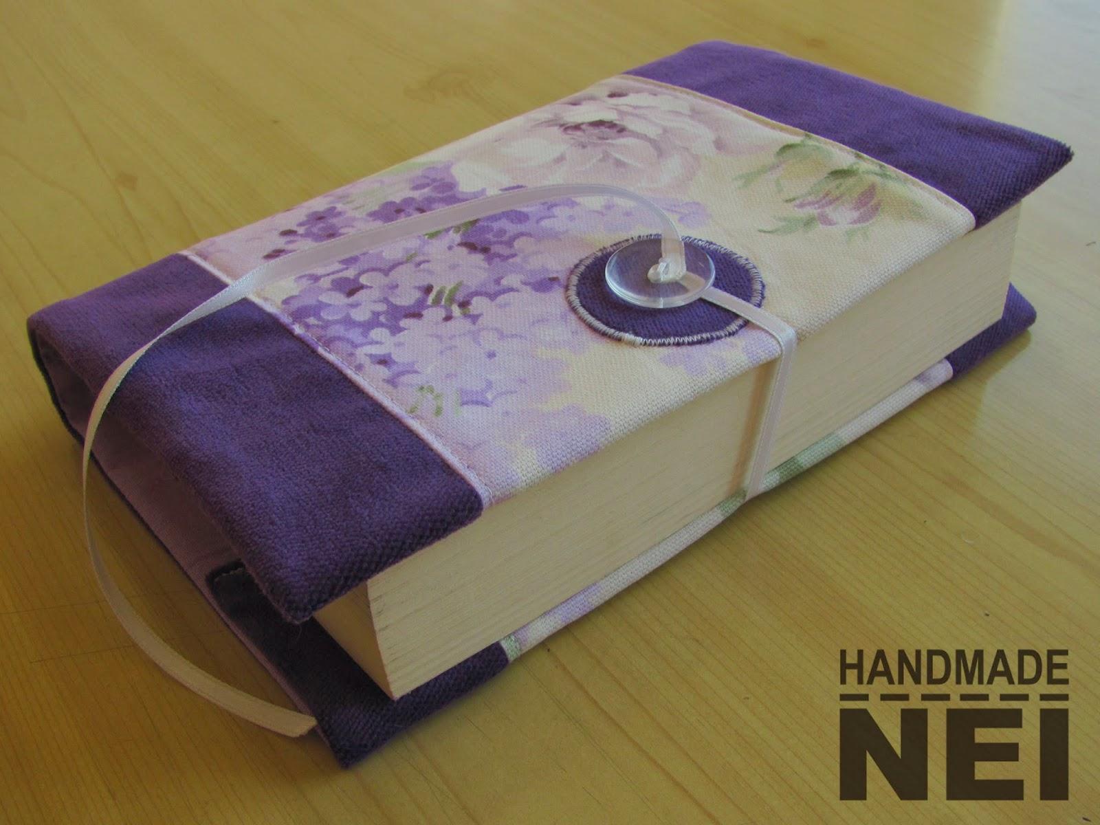 """Калъф за книга от плат """"Лилави цветя"""""""