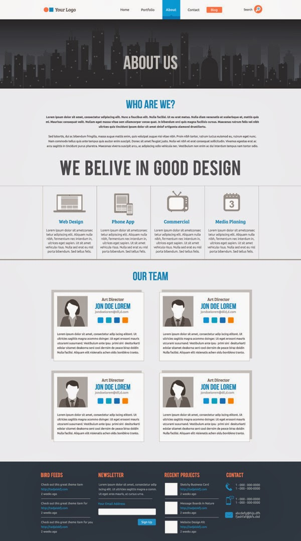 Flat Website Template about