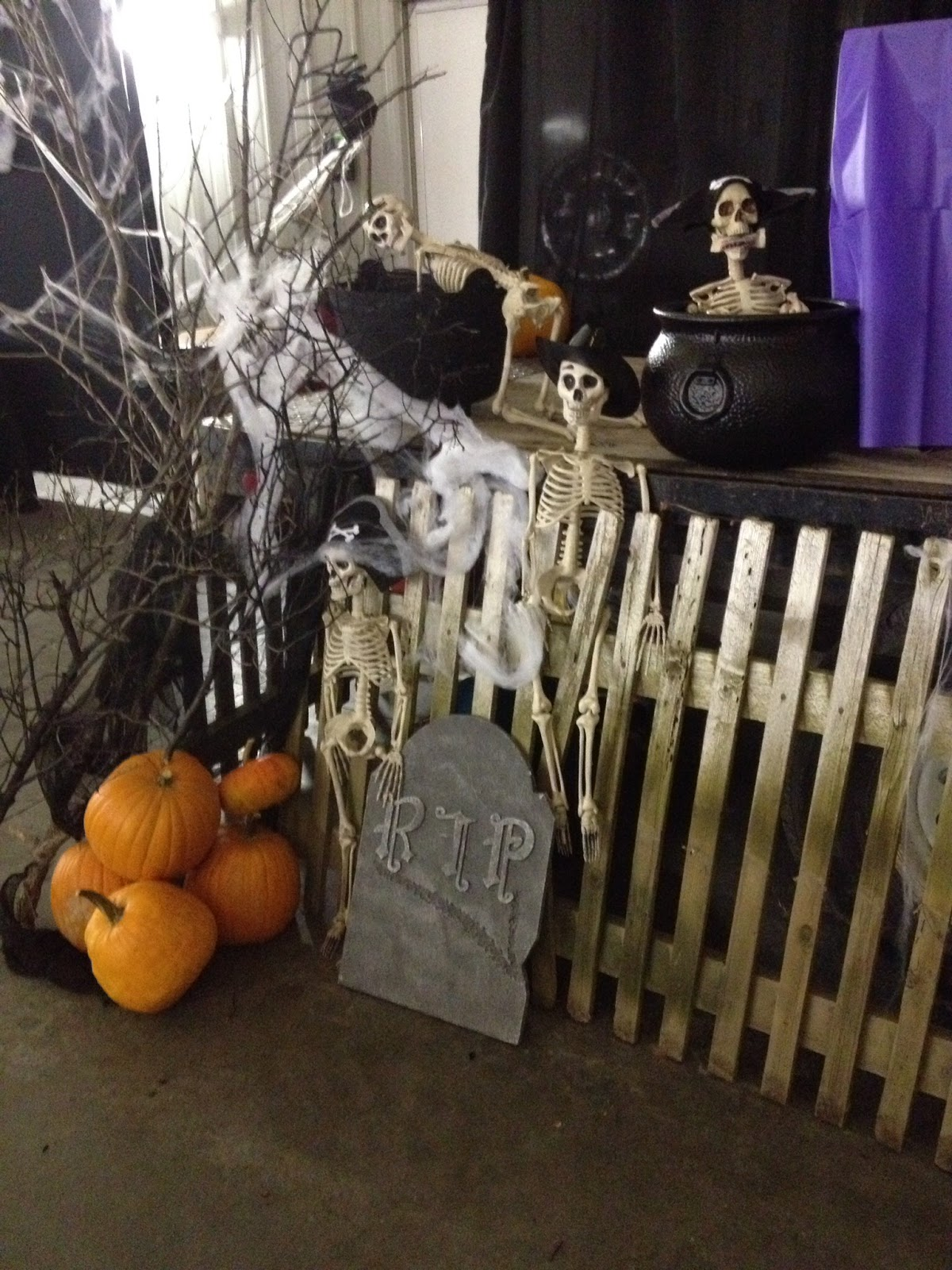 Stage for community social party for Halloween