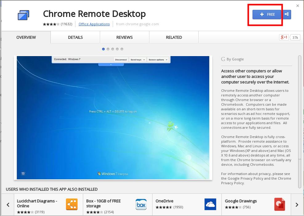 Add On Chrome Remote Desktop