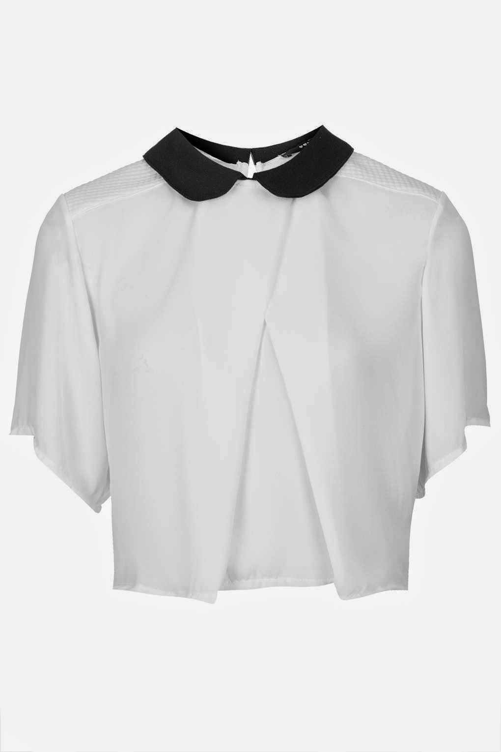 white cropped shirt black collar