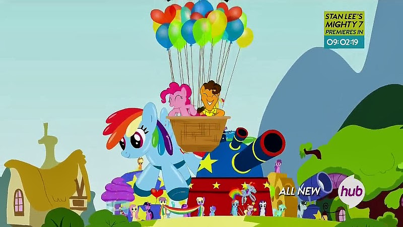 Pinkie Pie and Cheese Sandwich lead Rainbow's birthday parade
