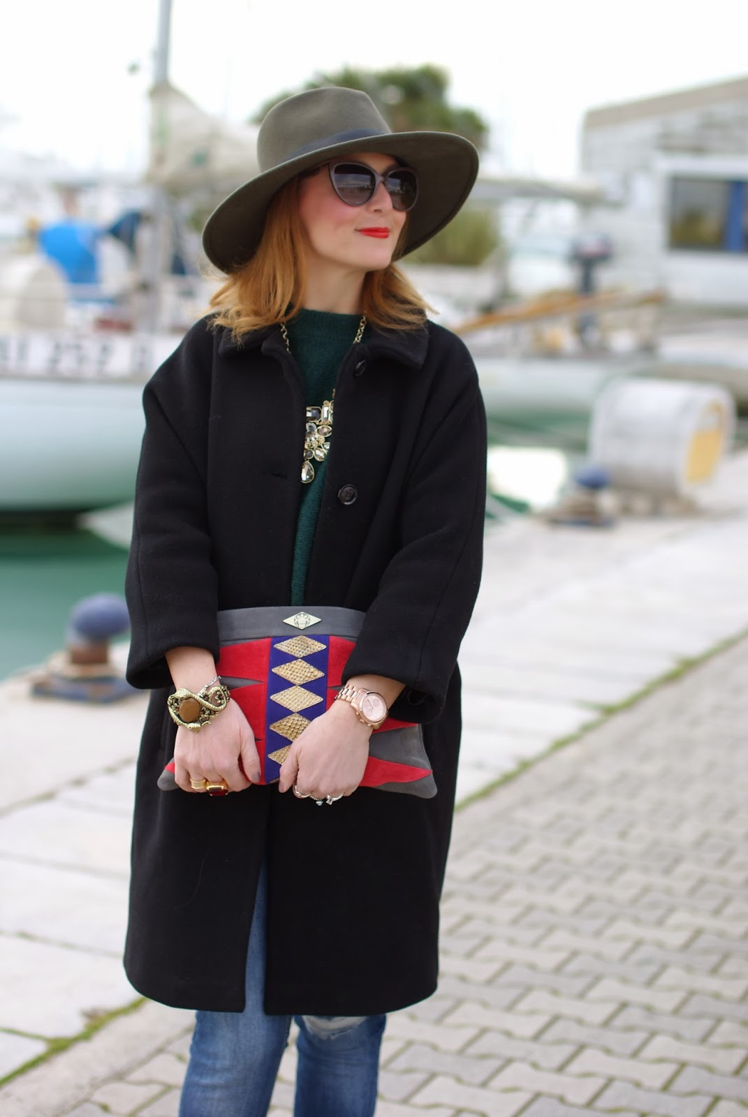 Ecua-Andino australian hat, Michael Kors rose gold watch, Mohekann Navajo clutch, Fashion and Cookies, fashion blogger