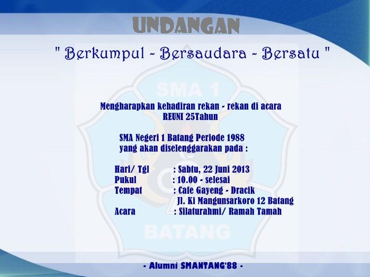Alumni Sma Negeri 1 Batang 88 Spanduk Reuni 2013 Siap Dipasang