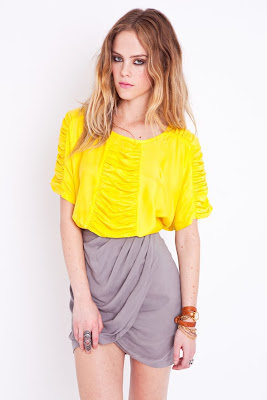 Ruched Yellow Top