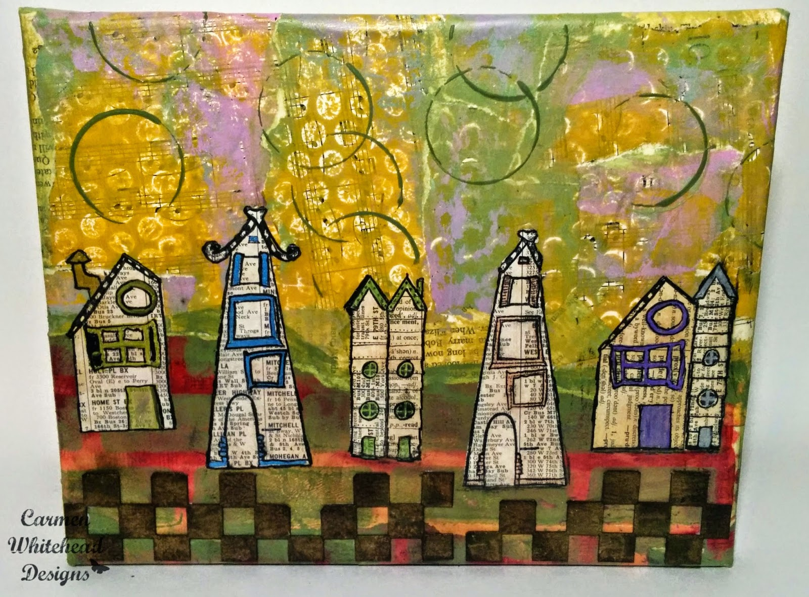 Whimsical Village Canvas, RubberMoon stamps, Imagine Crafts created by Carmen Whitehead designs