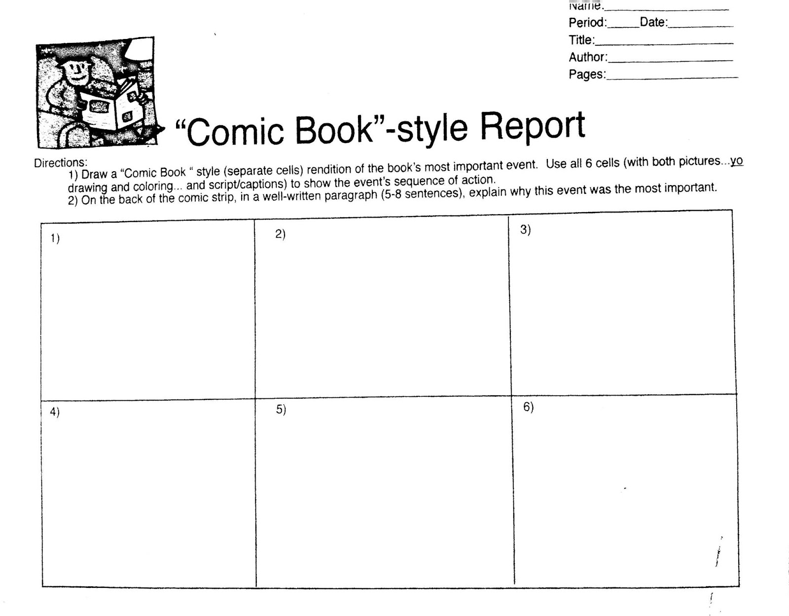 book report comic strip Comic strip page templates by tracee orman about comic life teachers: they can also be used to create reports.