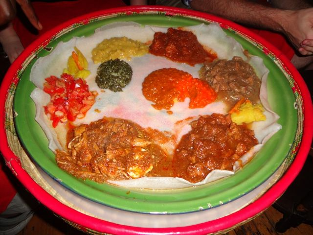 Ethiopian food from Addis Restaurant.