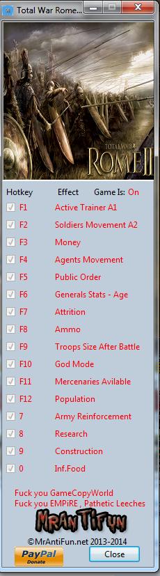 Total War Rome 2 V1.13.1 Trainer +15 Build 11724 MrAntiFun