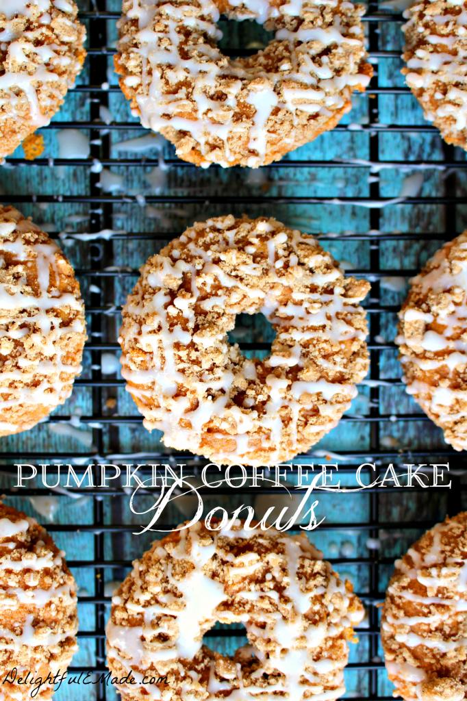 Pumpkin Coffee Cake Donuts via Delightfulemade