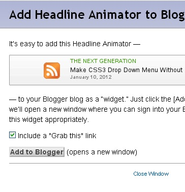 Create Headline Animator For Blogger