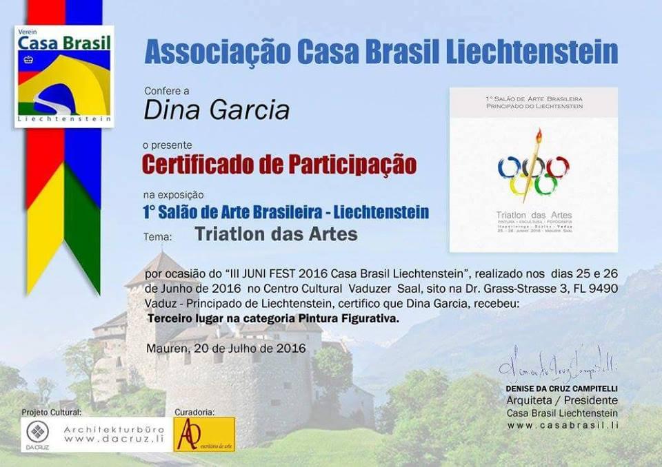 TERCEIRO LUGAR NA CATEGORIA PINTURA FIGURATIVA NO PRIMEIRO SALÃO DE ARTE BRASILEIRA EM Liechtenstei