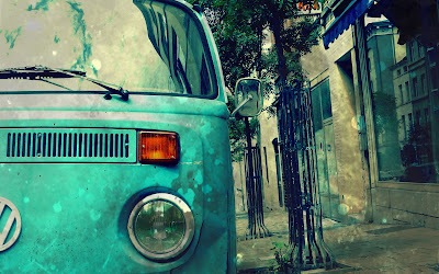 Blue Volkswagen Transporter Vintage Car Photography Wallpaper