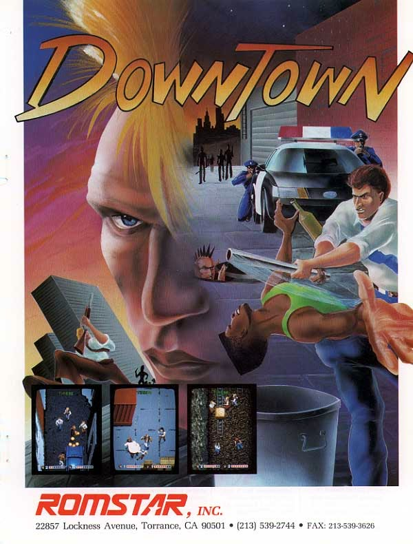 Downtown arcade game portable flyer
