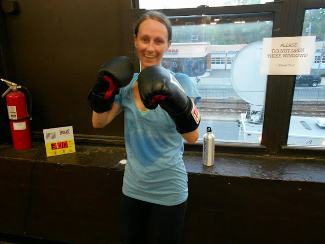 Taking a trial boxing class at The Ring Boxing Club in Boston