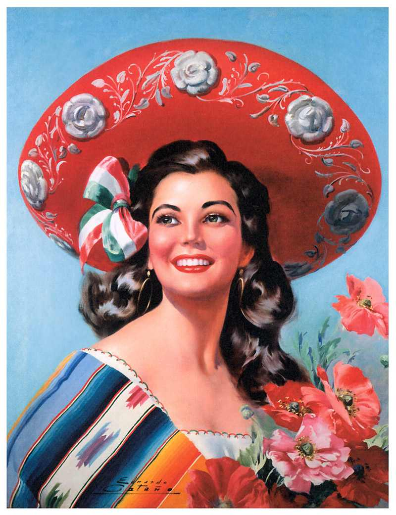 Mexican Calendar Girl Art : Blonde red happy cinco de mayo