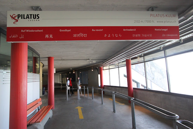 Goodby in various languages as you head to the cogwheel train terminal at Pilatus Kulm (Mount Pilatus) in Lucerne, Switzerland