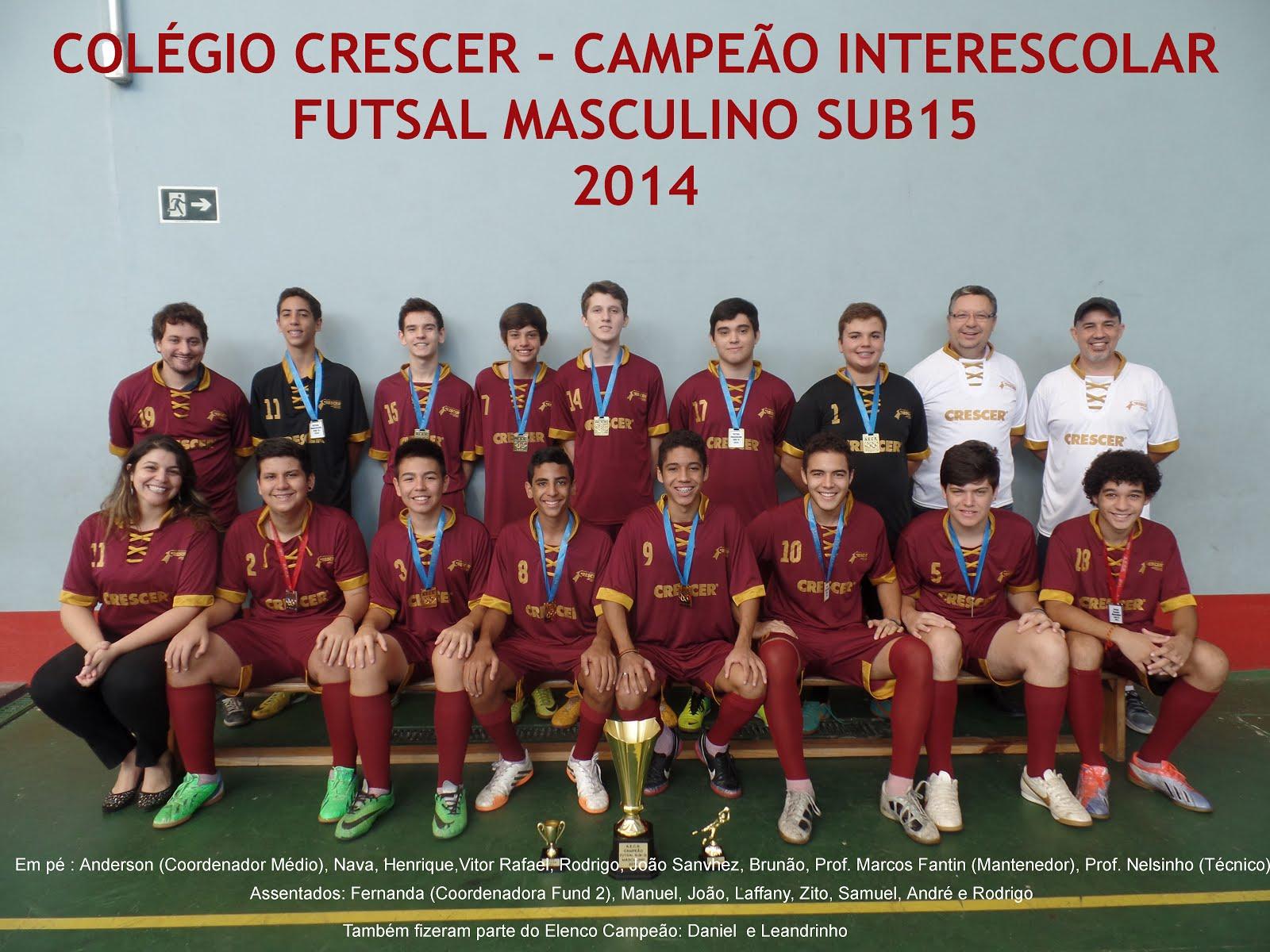 Sub 15 Campeão Interescolar 2014
