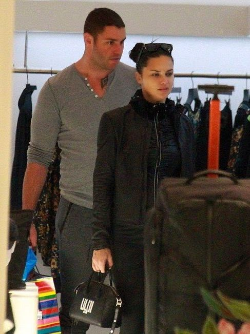 Adriana Lima wears a black jacket and playsuit at Miami on Wednesday, January 28, 2015