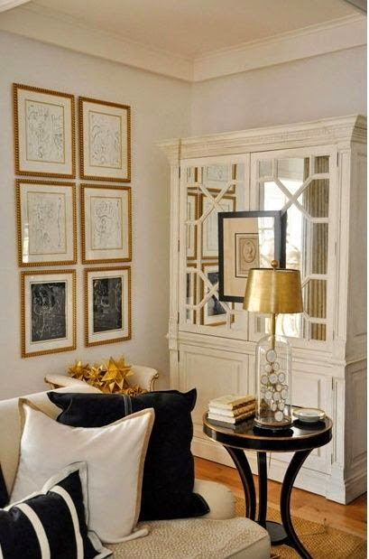 white with navy blue living room gold framed art  accessories