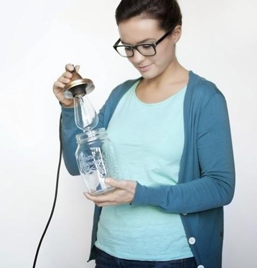 DIY, Lámpara hecha con tarros de cristal