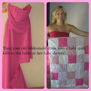 Bridesmaid dress into baby blanket for baby shower gift for the bride